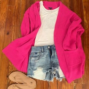 Hot pink open sweater from Express